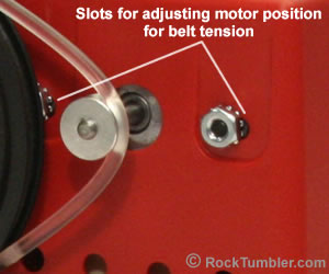 Tumbler belt tension adjustment