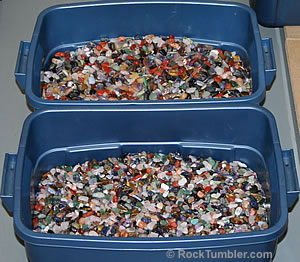 Tumbled stones bins