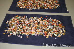 Mixed stones on a towel