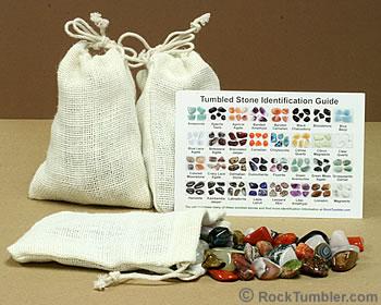 Burlap bag of tumbled stones