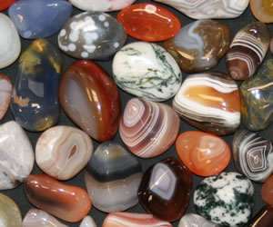 Brightly colored agates