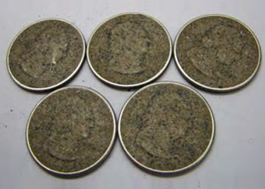 Corroded coins