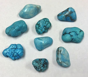 Blue dyed howlite