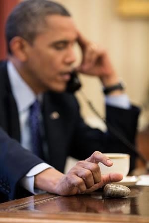 President Obama with a Petoskey stone