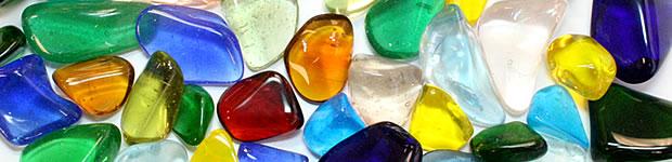 Tumble polished colored glass
