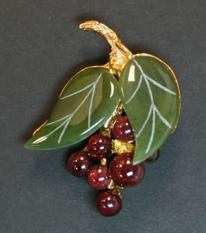Swoboda garnet cherry brooch