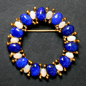 Swoboda opal and lapis brooch