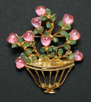 Swoboda rose quartz hearts brooch