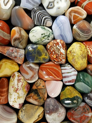 Brightly colored agates and jaspers
