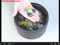 Polishing glass in a rock tumbler