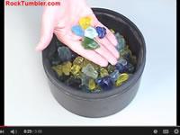 Polishing glass in a rock tumbler