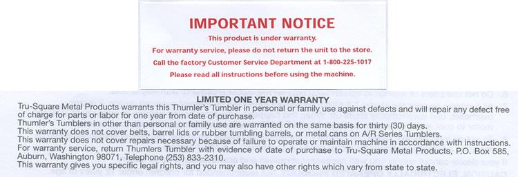 Rock Tumbler Warranty Thumlers And Lot O Tumbler